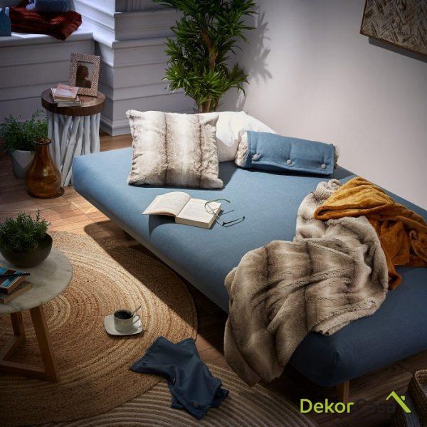 Sofá cama pie madera tela azul 195 CM