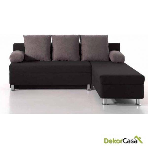Sofá cama chaise longue tapizado en color NEGRO