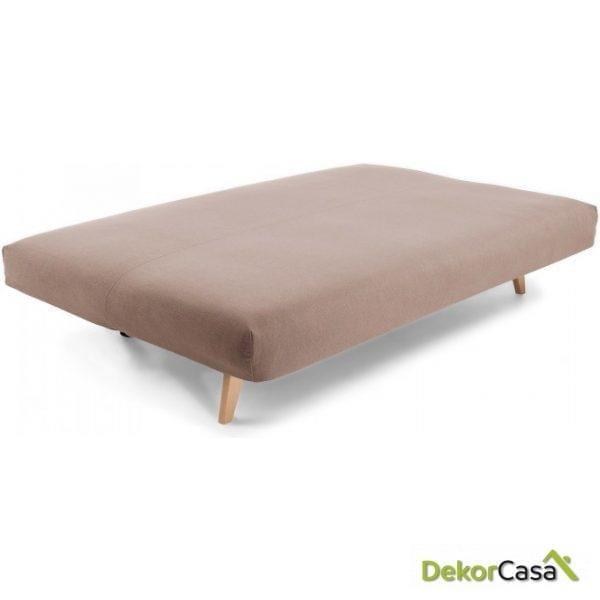 Sofá cama pie madera tela marrón 195 CM