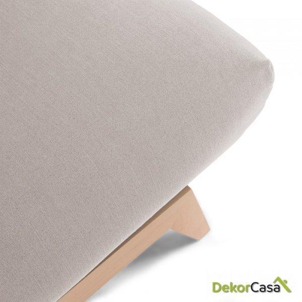 Sofá cama pie madera tela gris claro 195 CM