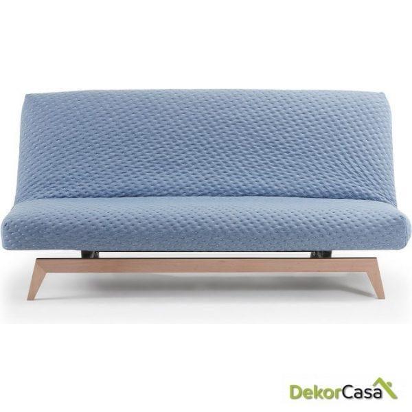 Sofá cama pie madera tela azul claro 195 CM