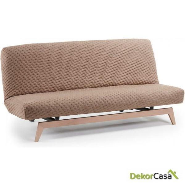 Sofá cama pie madera tela BEIGE 195 CM