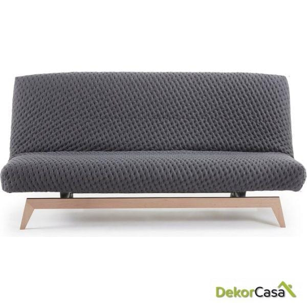Sofá cama pie madera tela gris  195 CM