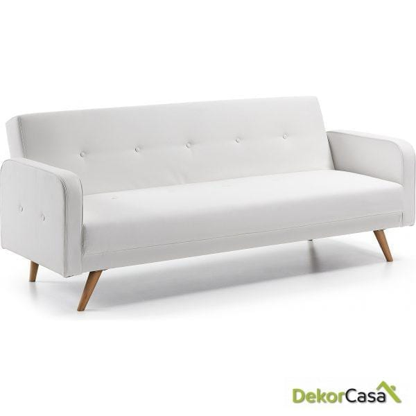 Sofa Cama ROGER 210 CM.Pu Blanco puro