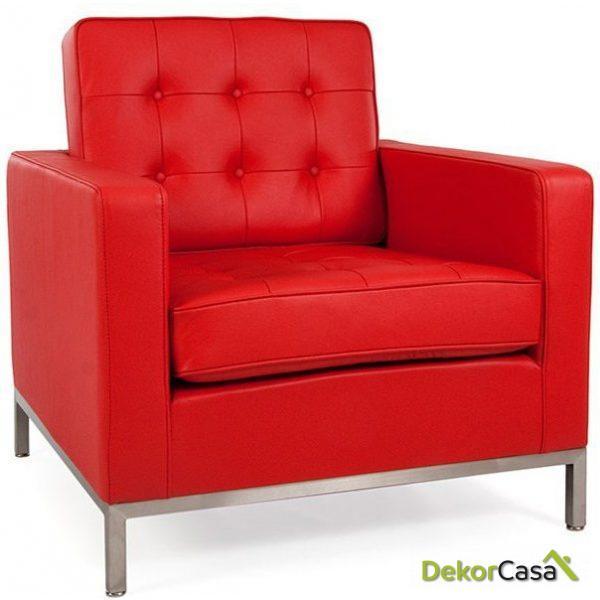Sofá FLOREN 1 plazas tejido cachemir rojo