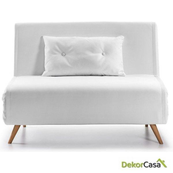 sofa cama tupana 100 cm pu blanco frente 1