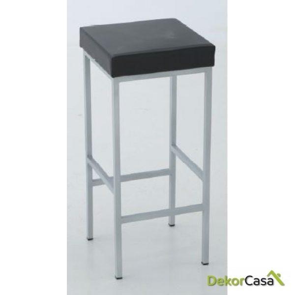 Taburete de aluminio asiento tapizado 34 x 34 x 72 cm