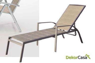 Tumbona Sera aluminio y textilene acolchado 67x187x55cm