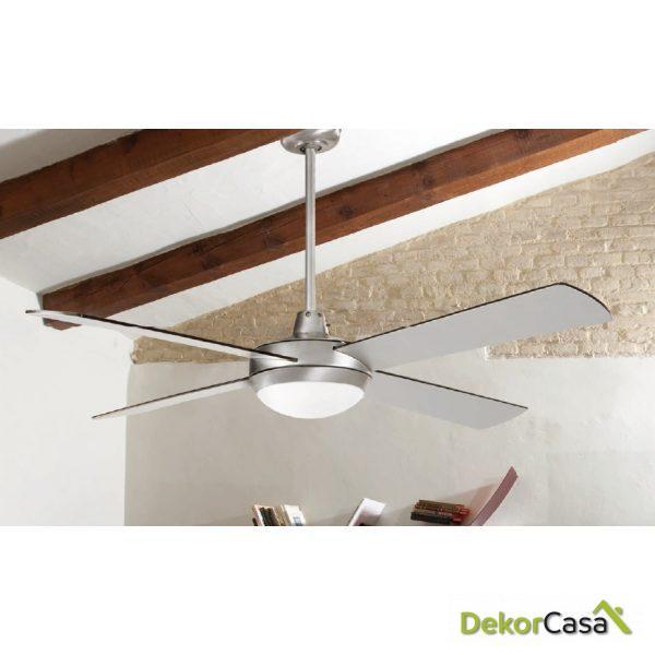 Ventilador de techo con luz aluminio 4 palas gris 50986 CRG