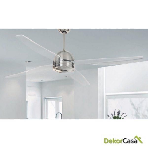 Ventilador techo cromado palas transparentes