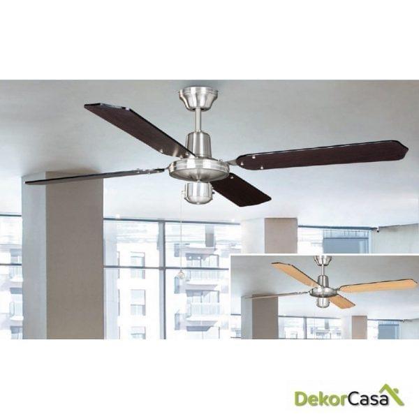 Ventilador techo sin luz cromo palas reversibles 50439 WE