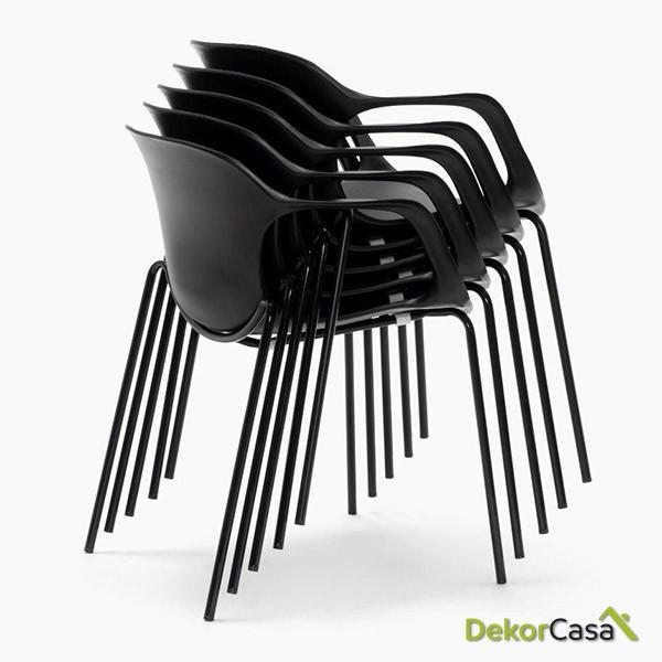 silla confidente apilable blanca bari copia