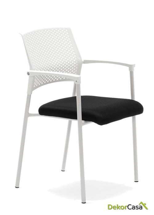 silla confidente apilable blanca manila