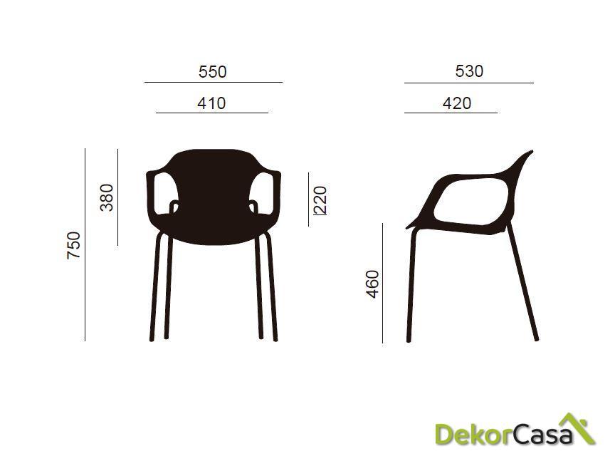 silla confidente apilable negra bari 1