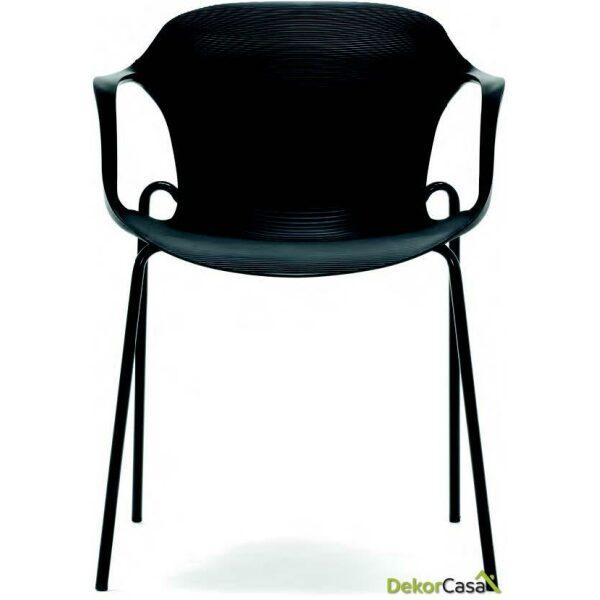 silla confidente apilable negra bari 2