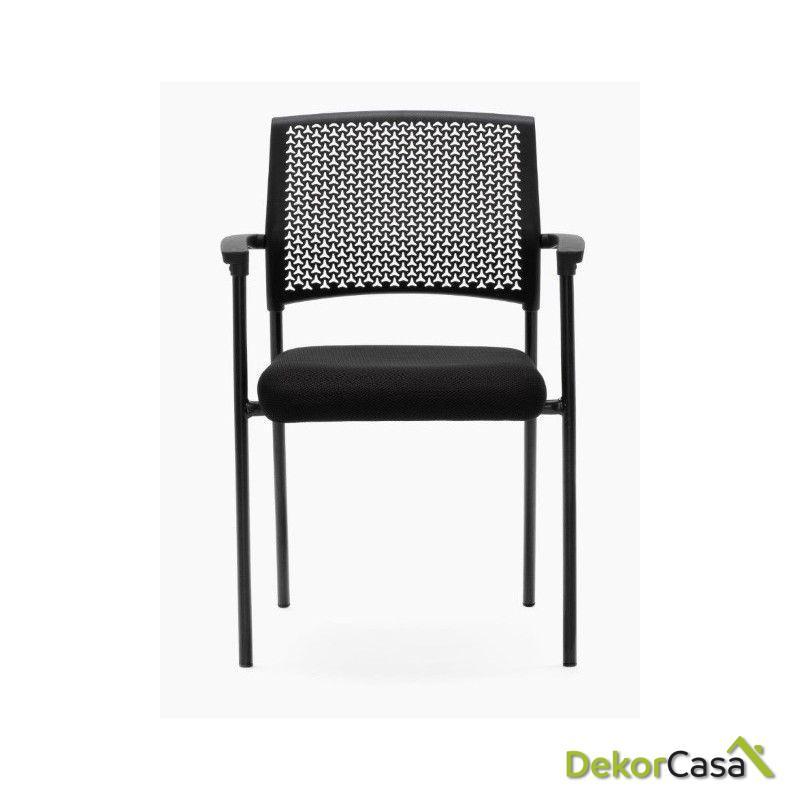 silla confidente apilable negra manila 2