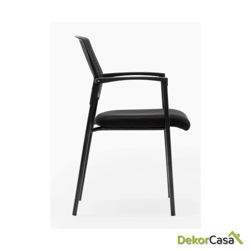 silla confidente apilable negra manila 3