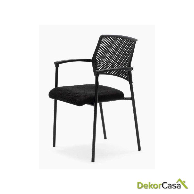 silla confidente apilable negra manila 4