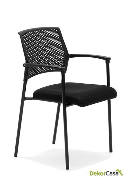 silla confidente apilable negra manila 5