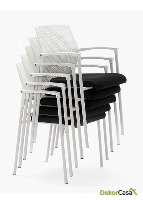 silla confidente apilable negra manila 6