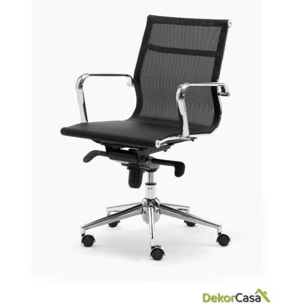 silla oficina malla respaldo bajo negro berlin