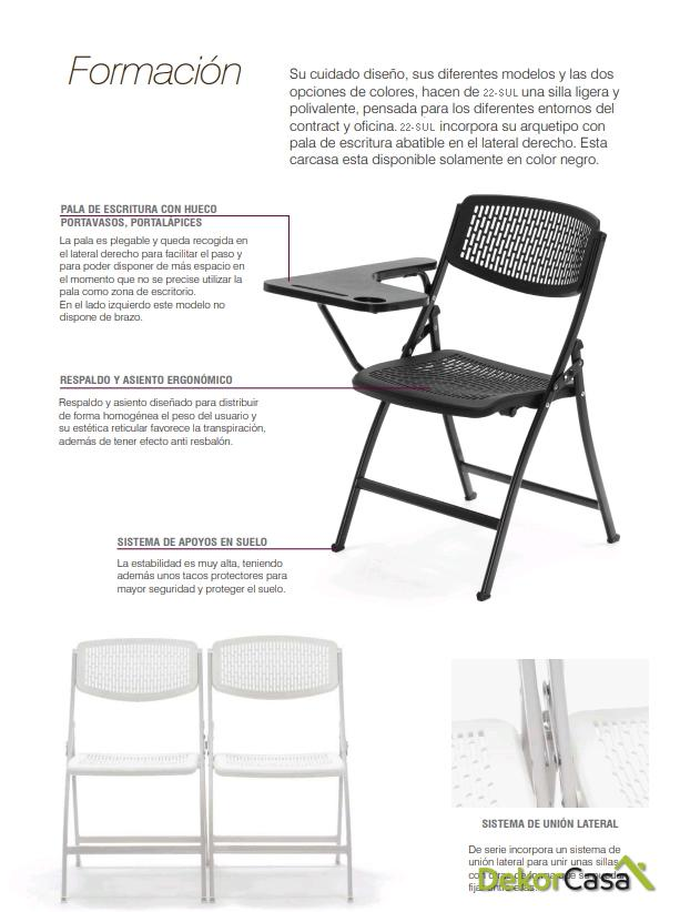 silla plegable oficina negra con pala seul 2
