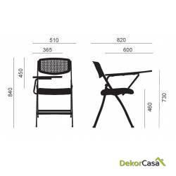silla plegable oficina negra con pala seul 3