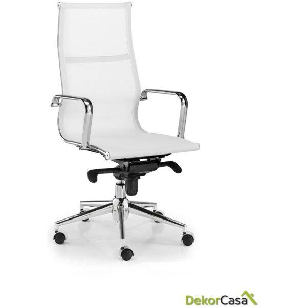 silla tapizada malla respaldo alto blanco