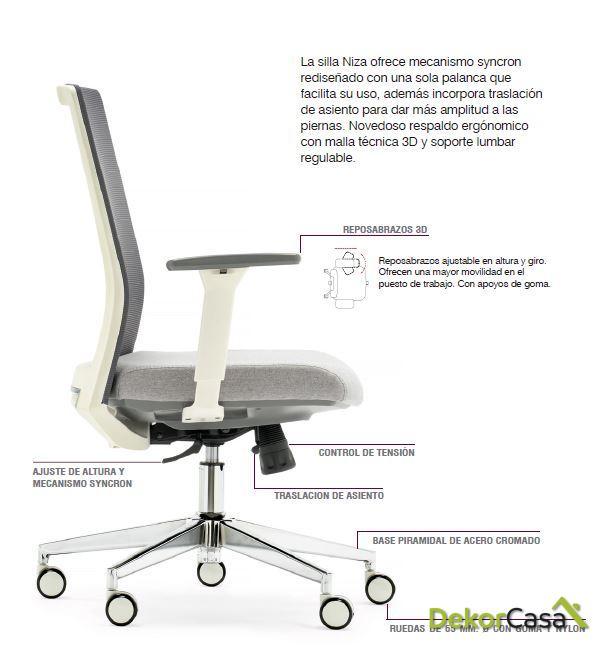 silla oficina gris niza