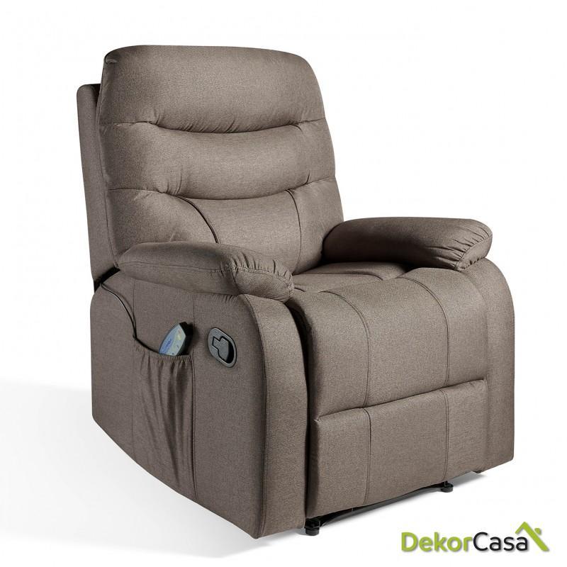 ecode sillon de masaje relax imperial tapizado en tela marron 1