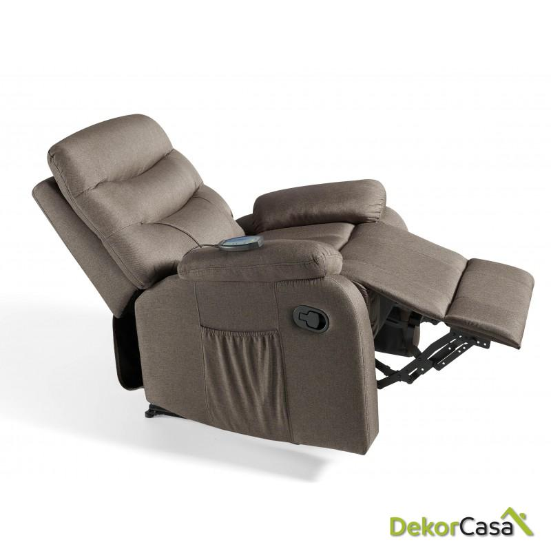 ecode sillon de masaje relax imperial tapizado en tela marron 2