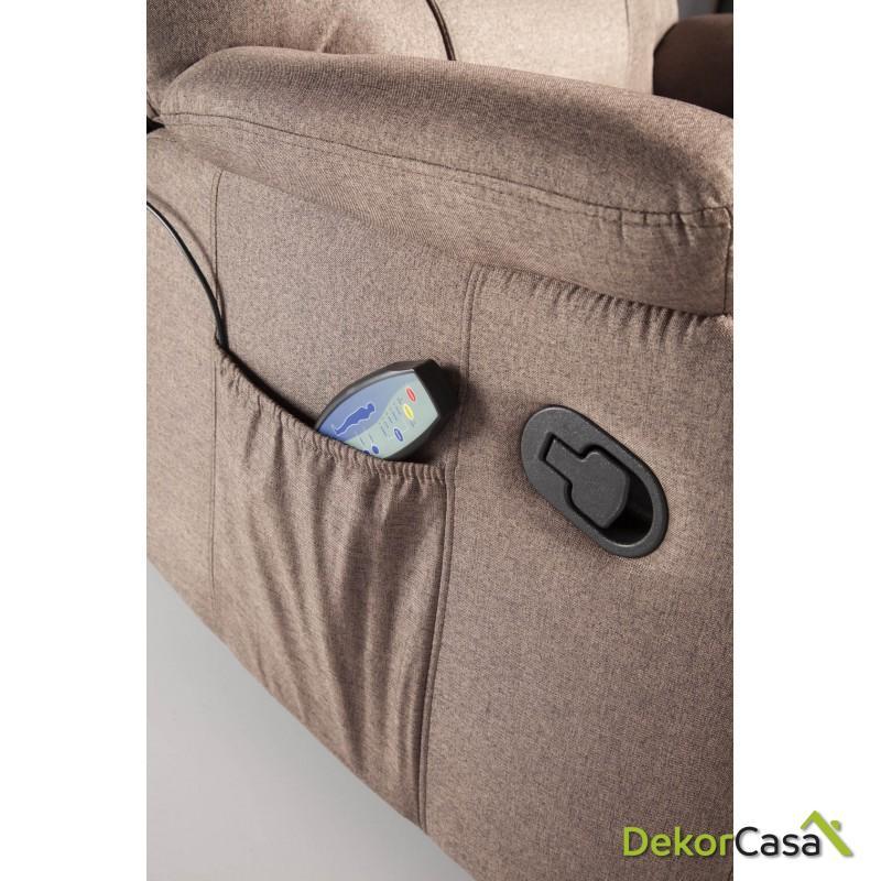 ecode sillon de masaje relax imperial tapizado en tela marron 4