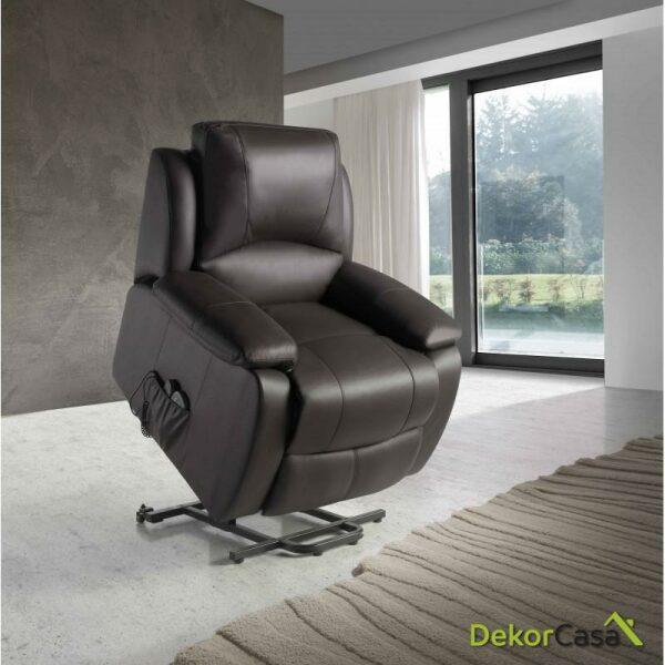 Ecode sillon relax piel vacuno con sistema elevador masaje programable y calor lumbarECO-8620UP